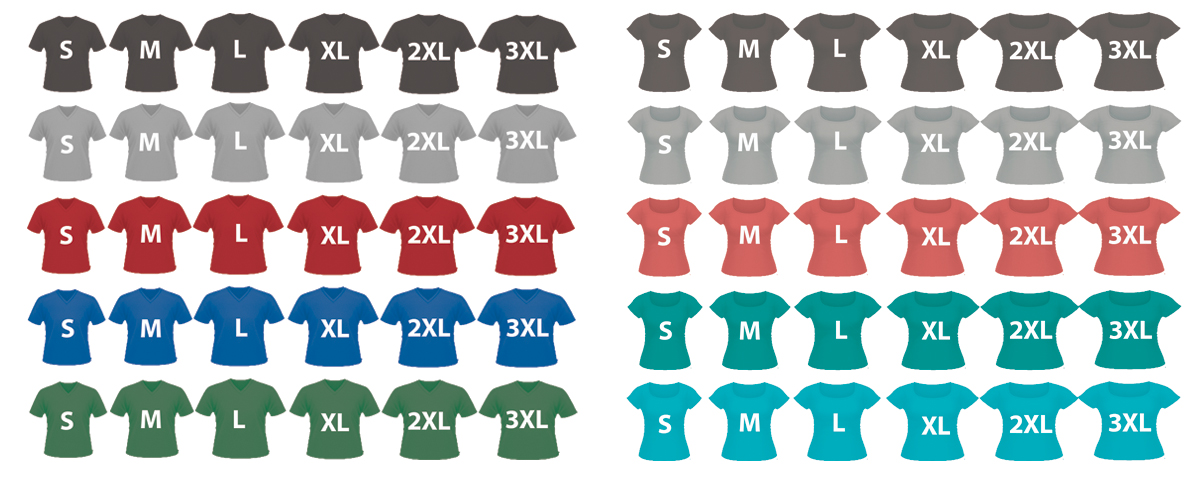Illustration of 60 t-shirts in10 colors, each color in both men's and women's styles, and each in sizes small, medium, large, XL, 2XL and 3XL.