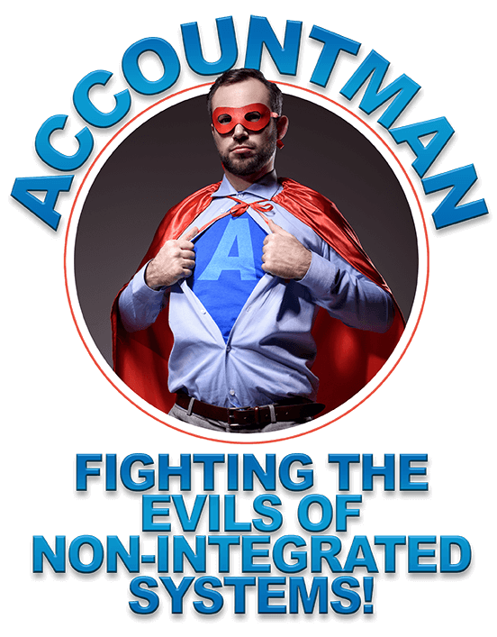 Superhero in red cape says account man fighting the evils of non-integrated systems!!