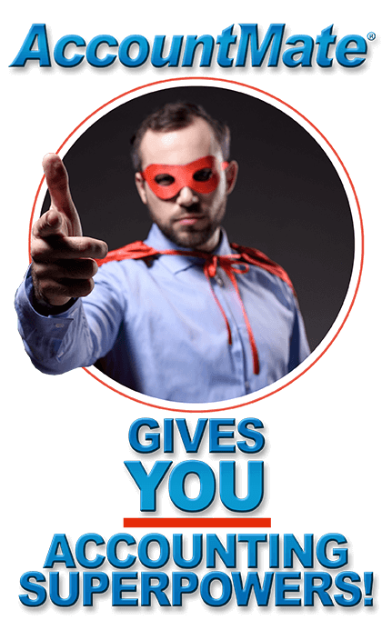 Superhero in red cape says accountmate gives you accounting superpowers!