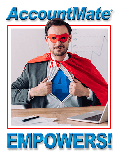Superhero in red cape says accountmate empowers!