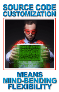 Superhero in red cape says source code customization means mind-bending flexibility