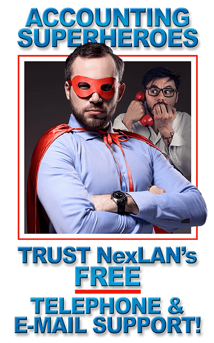Superhero in red cape says accounting superheroes trust NexLAN's free telephone and email support!